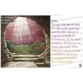 Carte postale 15 Stations du Chemin de croix  prière - aimantée