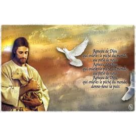 Carte postale Agneau de Dieu prière - aimantée