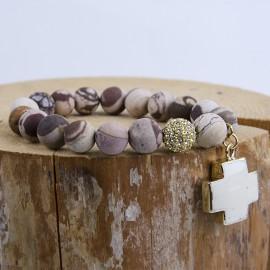 Bracelet agate avec croix turquoise blanche - plaqué or