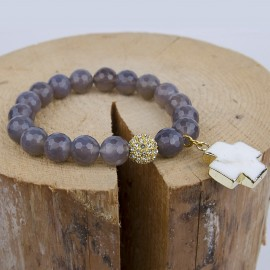 Agate bracelet with white turquoise cross - gold plated