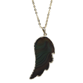 Pendant - Agate stone necklace - Angel's wing