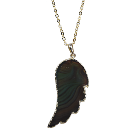 Collier Pendentif D Aile Agate Pierre Ange mwv8y0NnO