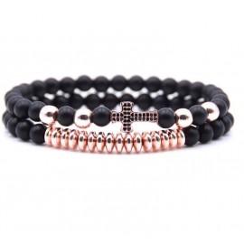 Bracelet croix cristaux perles noires - 2 pièces