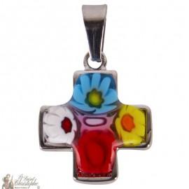 Pendentif croix Murano verre - acier inoxydable