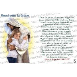 Carte postale Merci pour une grâce prière - aimantée
