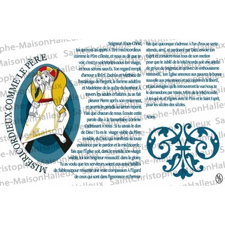 Carte postale Miséricordieux comme le Père prière - aimantée