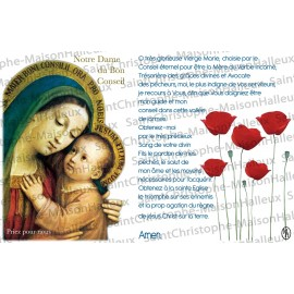Carte postale Notre Dame du Bon Conseil prière - aimantée