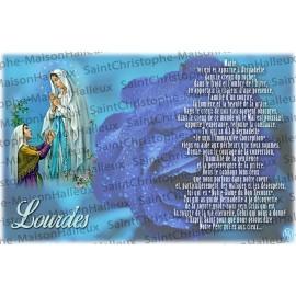 Carte postale Notre Dame de Lourdes prière - aimantée
