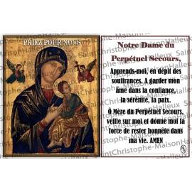 Carte postale Notre Dame du Perpétuel Secours prière - aimantée