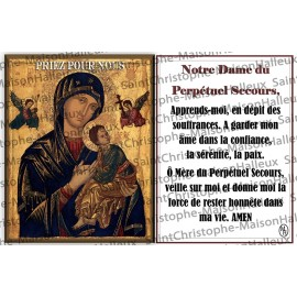 Postcard Our Lady of Perpetual Help prayer - magnetic