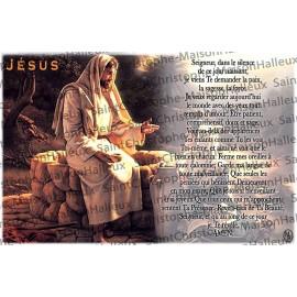 Carte postale Jésus prière - aimantée