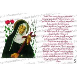 Carte postale Sainte Rita prière - aimantée
