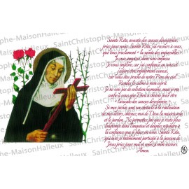 Postcard Holy Rita prayer - magnetic