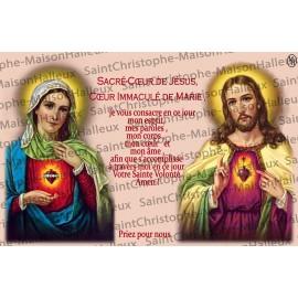 Carte postale Sacré coeur de Jésus et Marie prière - aimantée
