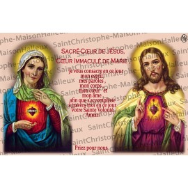 Postcard Sacred Heart of Jesus and Mary prayer - magnetic