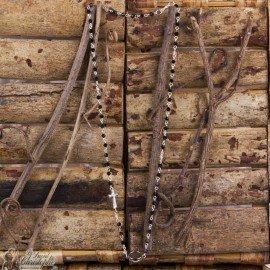 Collier chapelet perles strasse croix - personnalisable