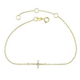 Bracelet croix cristal synthétique - Argent 925 plaqué or 14 K
