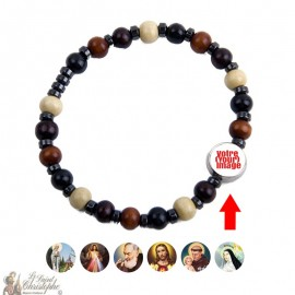 Wooden bracelet hematite ten - customizable
