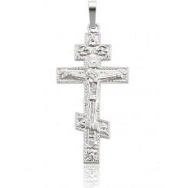Pendentif croix Orthodoxe métal Rhodium
