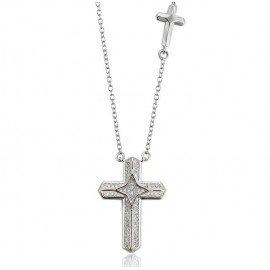 Collier croix doubles couleur Rhodium
