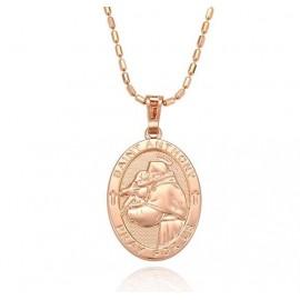 Médaille Saint Antoine - plaqué or couleur rose