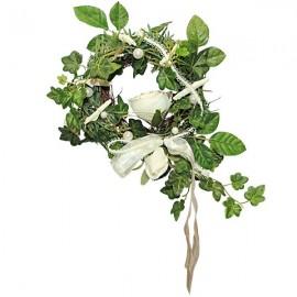 Couronne de lierre et rose blanche