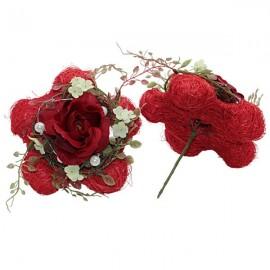 Fleurs roses rouges- stick
