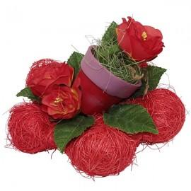 Fleurs roses rouges port de fleur décoration de table
