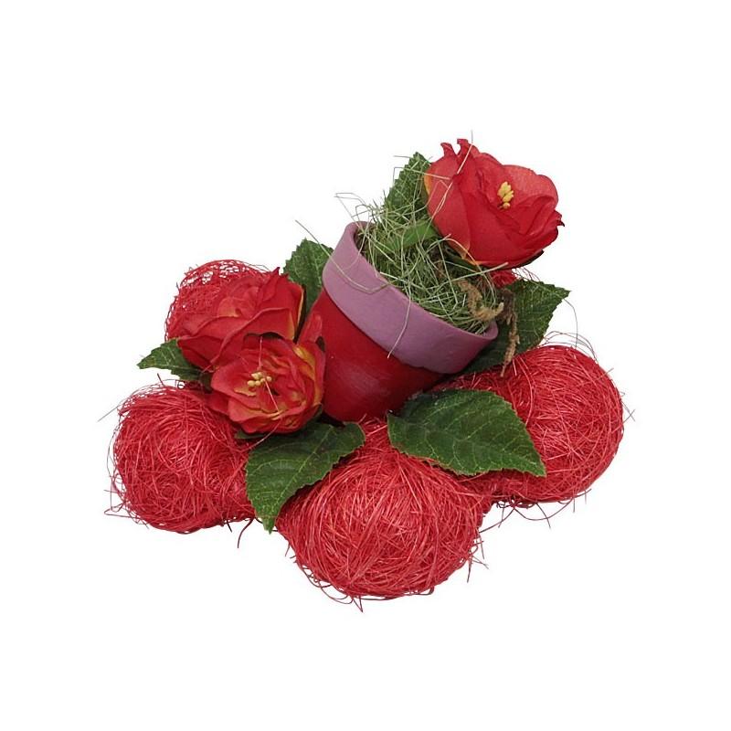 Roodroze Bloemen Met Tafeldecoratie Bloemen