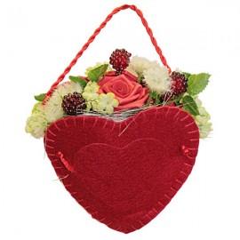 Panier cœur fleuris rouge