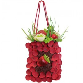 Basket bag fabric flowered with red strawberries