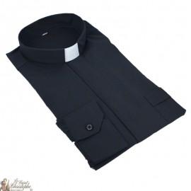 Chemise pour prêtre noire manches longues