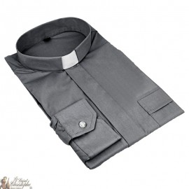 Chemise pour prêtre gris foncé manches longues