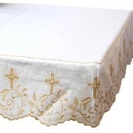 Altar Tischdecke Stickerei Kreuz gold - 3 Seiten