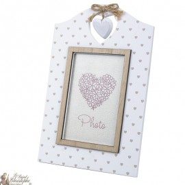 Photo frame with wooden heart motifs, beautiful decoration