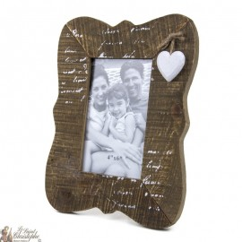 Photo frame with wooden heart