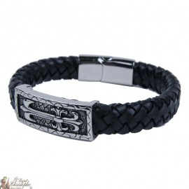 Bracelet cuir et métal inoxydable avec croix