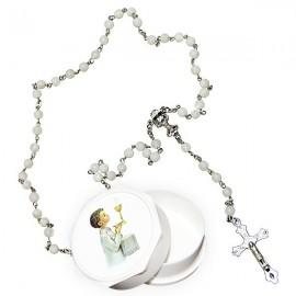 Chapelet blanc véritable perles en nacre avec boite pour communion - garçon