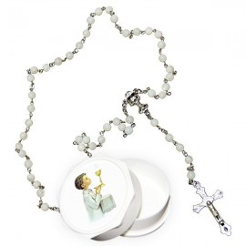 Real white rosary with mother-of-pearl pearls and communion box - boy