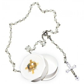 Real white rosary with mother-of-pearl pearls and communion box