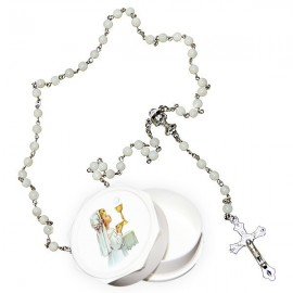Real white rosary mother-of-pearl pearls with communicating box - girl
