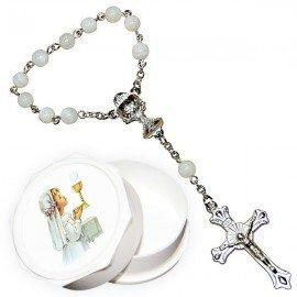 Dizaine perles en nacre avec boite pour communion - fille