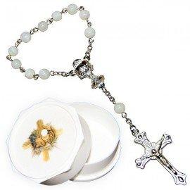 Dizaine perles en nacre avec boite pour communion