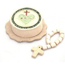 Caja con diez rosarios de terracota