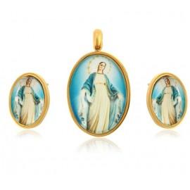 Parure pendentif et boucles d'oreilles Vierge Miraculeuse - plaqué or 24 k