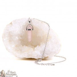 Pendant - Pink Quartz stone necklace