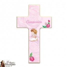 Croix en bois pour communion fille