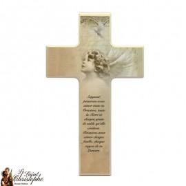 Croix en bois pour communion ange bronze
