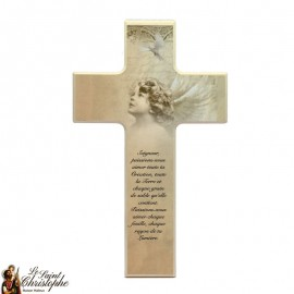 Wooden cross for communion - bronze angel