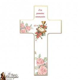 Croix en bois pour communion - bible et roses